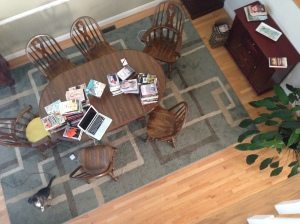 top view of books